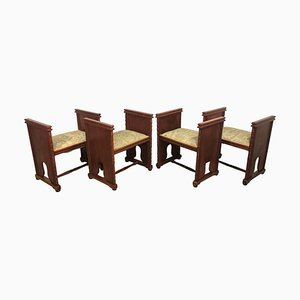 Rectangular Window Benches with Arms, Set of 4