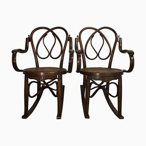 19th Century Bentwood Rocking Chairs in Style of Jacob & Josef, Set of 2