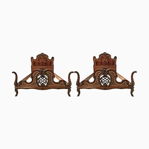 Venetian Baroque Twin Marquetry and Carved Walnut Bed Frames, 1930s, Set of 2