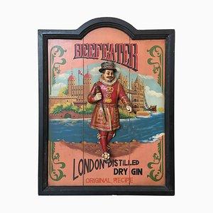 Vintage Werbung Holz geschnitzte Relief Beefeater Werbung