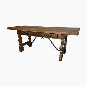 18th Century Baroque Farm Refectory Desk Table with Two Drawers & Stretchers