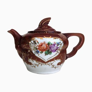 Plum Red-Ground Salt Glazed Stoneware Teapot and Cover, 1940s