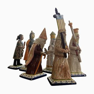 Polychromed Figures Depicting the Processions of Holy Week, Set of 6