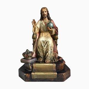 Französische bemalte und vergoldete Statue von Jesus Christus, 20. Jh