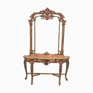 Renaissance Spiegel und Konsolentisch aus geschnitztem & vergoldetem Nussholz im Renaissance Stil, 2er Set