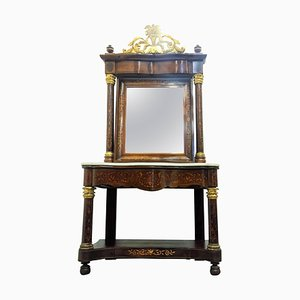 Spanish Empire Console Table with Mirror in Mahogany, 1810s