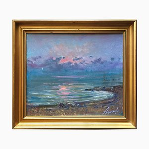Mid-Century Oil Painting of Sunrise at Sea by Arnedo Linares, Spain