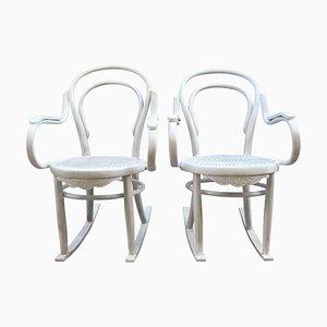 20th Century White Patina Bentwood Rocking Chair