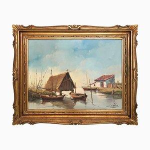 Oil on Canvas, The Lagoon, Valencia, Spain, C. Lopez, 1950