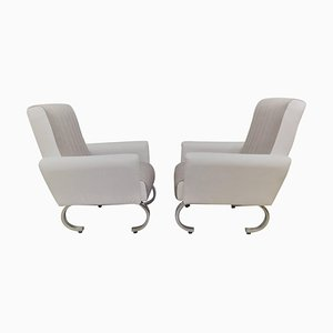 Mid-Century Italian Armchairs with Curved Metal Base, Set of 2