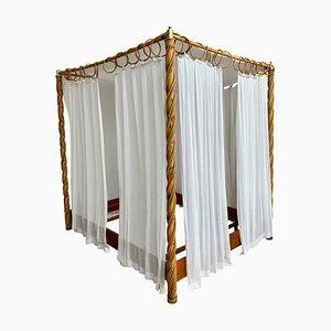 Cama con dosel Mid-Century de bambú y cortinas