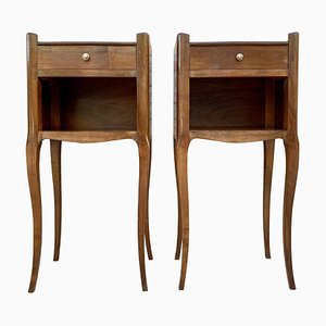 French Oak Nightstands with One Drawer and Open Shelf, 1890s, Set of 2