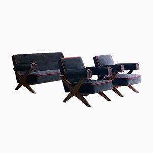 Model Pj-010806 Easy Lounge Sofa & Armchairs by Pierre Jeanneret, 1958, Set of 3
