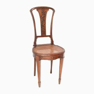 Art Nouveau French Walnut Side Chair in the style of Louis Majorelle, 1900s