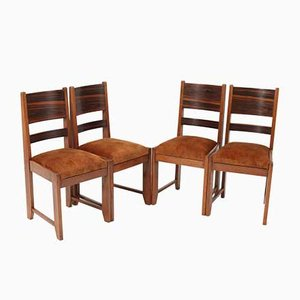 Art Deco Haagse School Oak Dining Room Chairs, 1920s, Set of 4