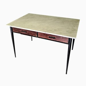 Vintage Italian Table with Marble Top, 1950s