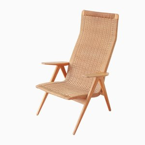 Swedish High Back Armchair in Paper Cord and Oak, 1950s