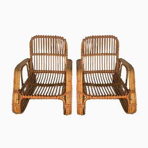Rattan Armchairs, Set of 2