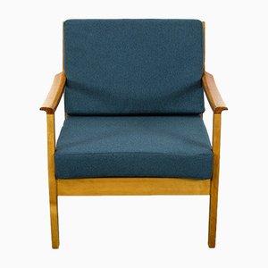 Cherry Wood Lounge Chair, 1960s