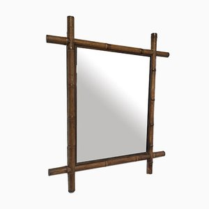 Large Vintage Bamboo Mirror, 1960s