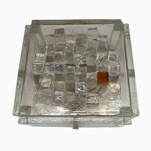 Italian Apis Glass Cube Sconces from Poliarte, 1970s, Set of 2
