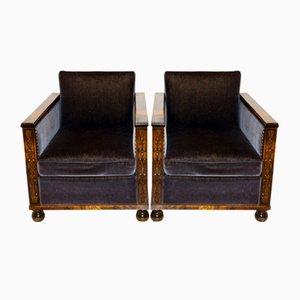 Velvet Chairs, Sweden, 1930s, Set of 2