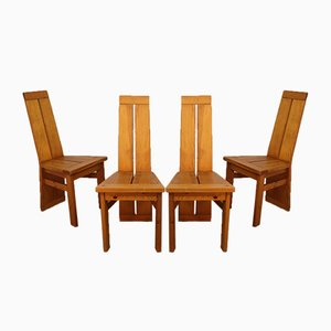 Vintage Chairs in Solid Pine, 1960s, Set of 4