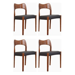 Mid-Century Esszimmerstühle aus Teak von Arne Hovmand-Olsen für Mogens Kold, 1960er, 4er Set