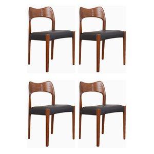 Mid-Century Teak Dining Chairs by Arne Hovmand-Olsen for Mogens Kold, 1960s, Set of 4