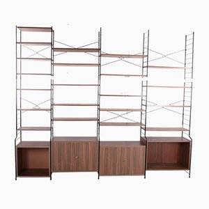Large Vintage Wall Unit or String Regal Color Walnut from Damm, 1960s, Set of 29