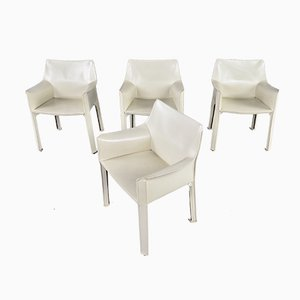 Model Cab 413 Ivory Leather Dining Chairs by Mario Bellini for Cassina, 1977, Set of 4