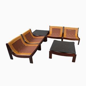 Set da salotto modulare vintage in pelle color cognac e palissandro, set di 6