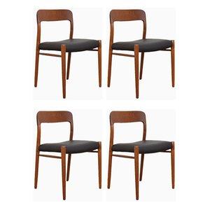 Mid-Century Danish Teak & Leather Dining Chairs by N. O. Møller for J.L. Møller, 1960s, Set of 4