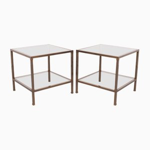 Bronze Two-Tier Square Side Tables, 1970s, Set of 2