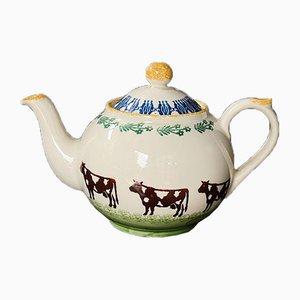 Antique Art Deco Hand-Painted Moorland Tea Pot from Chelsea Works Burslem, England