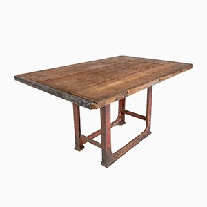 Vintage Industrial Wood & Iron Dining Table Desk
