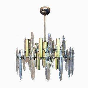 Lámparas de araña de cristal de Gaetano Sciolari, Italy, años 70. Juego de 2