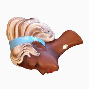 Vintage Ceramic Model 3675 Wall Mask of Young Woman With Blue Hairband, 1950s