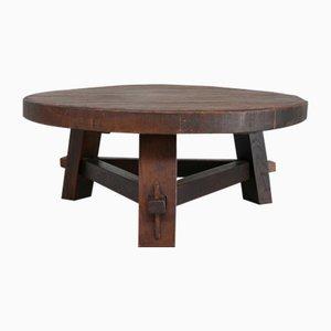 Mid-Century Dutch Brutalist Thick Oak Coffee Table