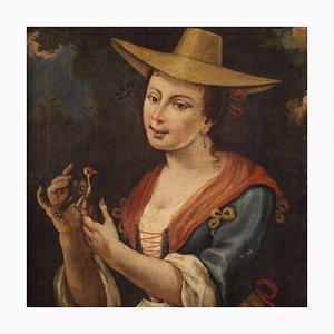Peinture Antique Portrait d'une Fille avec un Chardonneret, Italie, 18ème Siècle