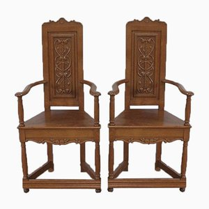 Renaissance Style Caquetoires Armchairs in Blond Oak, Late 19th Century, Set of 2