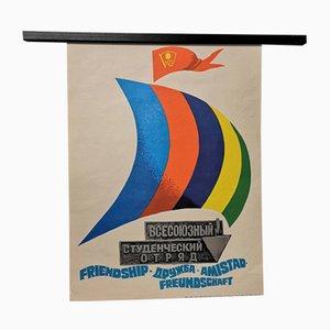 Vintage UdSSR Kommunistische Studentengewerkschaft Propagandaposter
