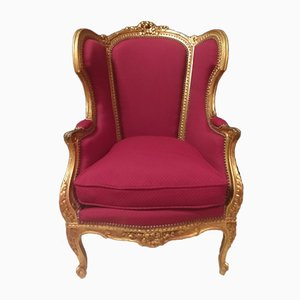 Louis XV Style Golden Wood Lounge Chairs, Set of 2