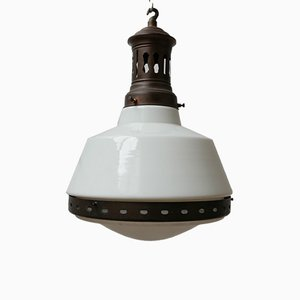 French Two-Tone Opaline Pendant Light from B.A.G