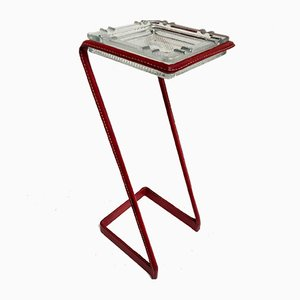 Pocket Tray on Leather Covered Stand by Jacques Adnet