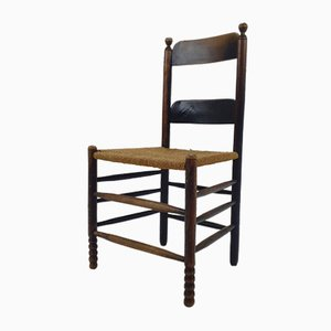 Antique Modernist Oak and Rush Side Chair, 1910s