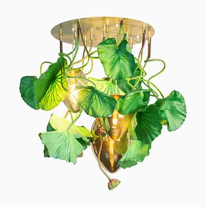 Flower Power Lotus Dichondra Round Chandelier & Crystal Egg Pendants from Vgnewtrend, Italy