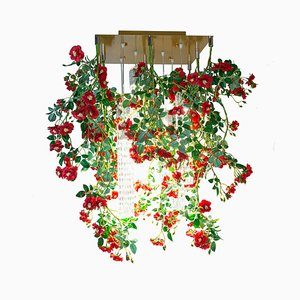 Flower Power Wild Red Roses Square Chandelier from Vgnewtrend, Italy