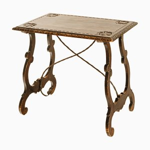 Baroque Auxiliary Table with Lyre Legs, Early 19th Century