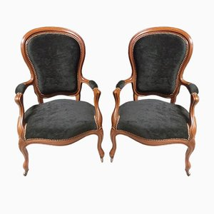 Louis Philippe Style Armchairs, Set of 2